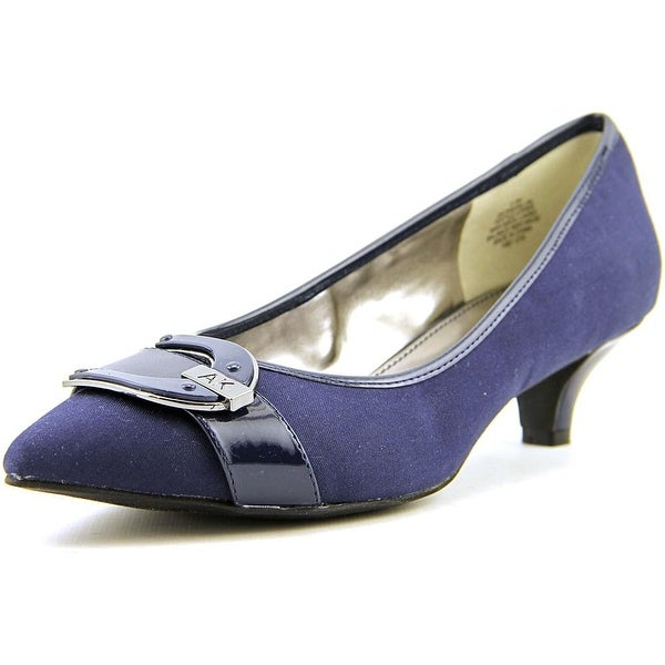 Anne Klein AK Madalon Women Pointed Toe Canvas Blue Heels