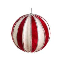 5 in. Peppermint Twist Red And Glitter Christmas Ball Ornament