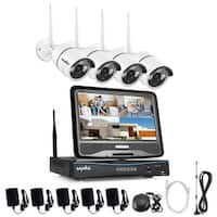 SANNCE 4CH Wireless Indoor Outdoor 720P CCTV Security Cameras System with Monitor
