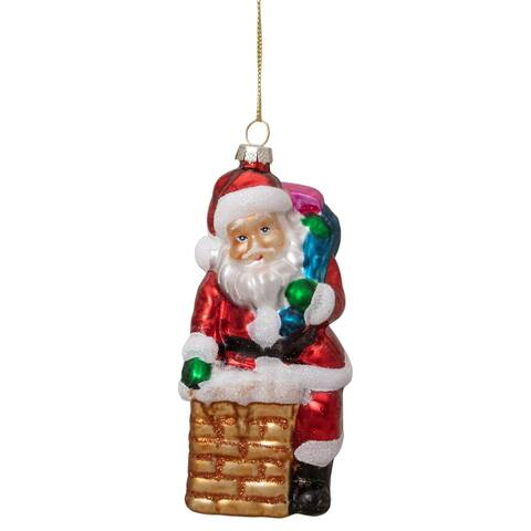 "5"" Santa Down the Chimney Hanging Glass Christmas Ornament"