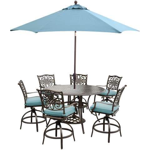 Traditions 7-Piece High-Dining Set in Blue with 9 Ft. Table Umbrella and Stand