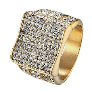 Iced Out 14k Gold Tone Ring Mens Hip Hop Wedding Engagement Stainless Steel