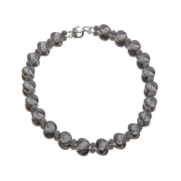 Aya Azrielant 14 mm Bead Necklace with Slate Swarovski Crystals in Sterling Silver - grey
