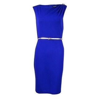 Ellen Tracy Women's Belted Cap Sleeve Embellished Shoulder Dress - cobalt - 2