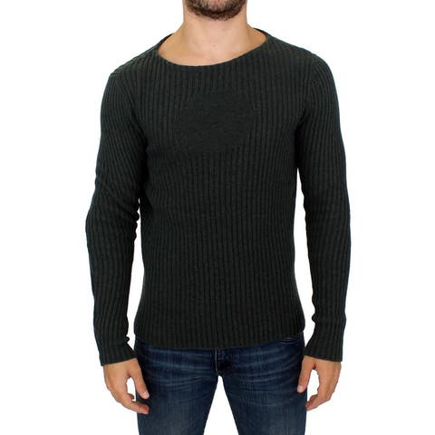 GF Ferre Gray Knitted Wool Blend Pullover Men's Sweater