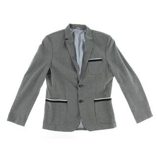 Zara Mens Textured Notch Collar Two-Button Blazer - M