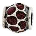 Italian Sterling Silver Reflections Red Enamel with Sparkles Bead - Thumbnail 0