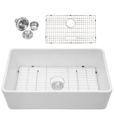 Aurora Decor Fireclay Single Bowl Farmhouse Kitchen Sink - 33 in. Width
