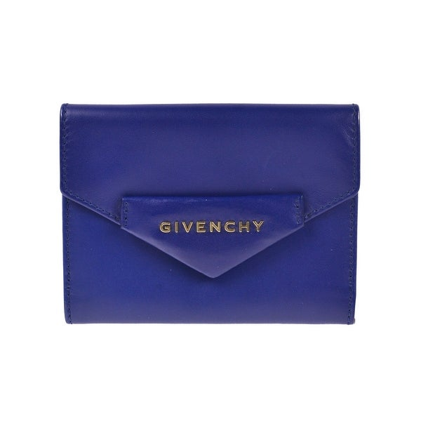 Givenchy Solid Navy Brown Calf Leather Bifold Wallet