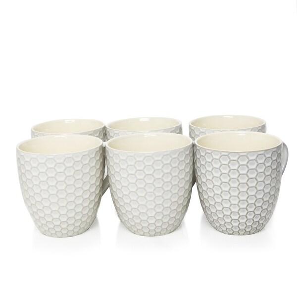Elama Honeycomb 6 Piece 15 Ounce Mug Set in White. Opens flyout.