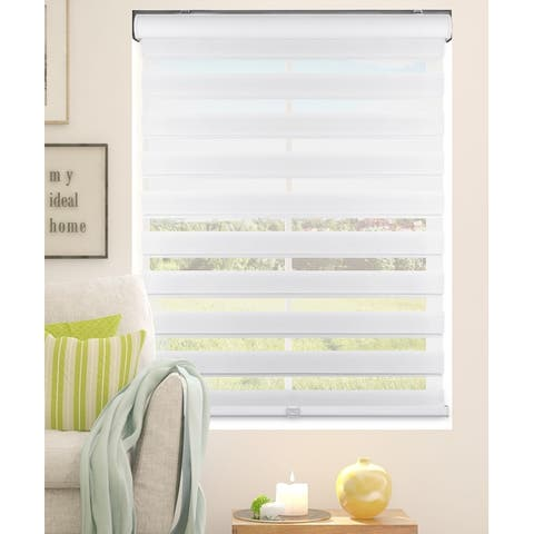 Arlo Blinds White Cordless 3 in 1 Zebra Roller, Striped, Sheer or Privacy Shade