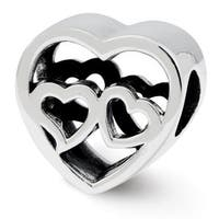Sterling Silver Reflections Two Hearts Bead (4mm Diameter Hole)