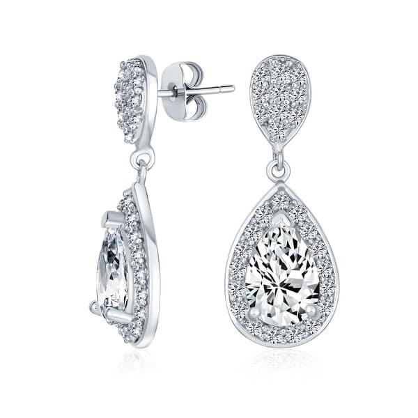 CZ Earrings Bridesmaid Gift Drop Earrings Imitation Diamond Earrings Bezel Set Cubic Zirconia 14K Yellow Gold Filled CZ dangle Earrings