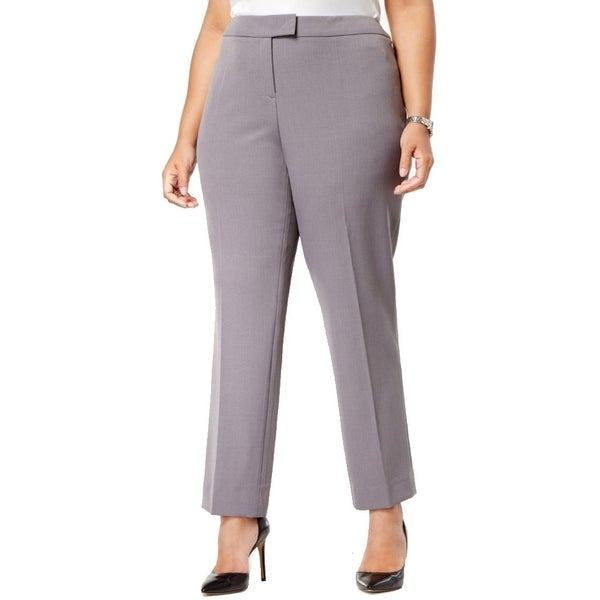 2f3dc953154 Shop Anne Klein NEW Gray Womens 14W Plus Extend-Tab Stretch Flat-Front Pants  - Free Shipping On Orders Over  45 - Overstock.com - 21433167