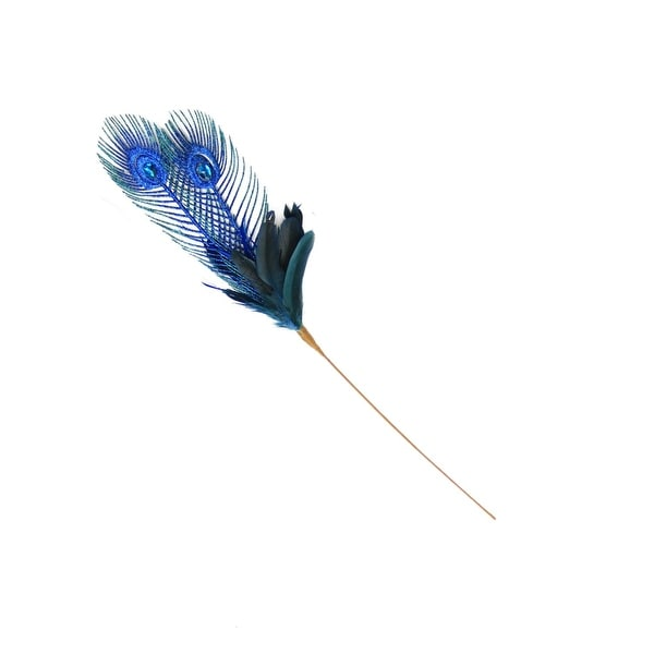"26"" Regal Peacock Blue and Green Feather, Glitter and Faux Jewel Christmas Floral Pick"