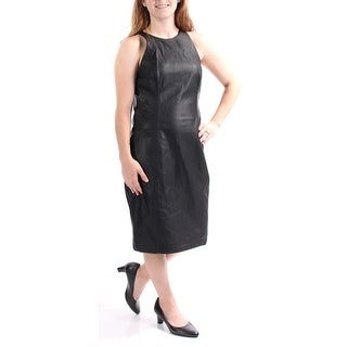 FRENCH CONNECTION $198 Womens 1495 Black Faux Leather Embroidered Dress 2 B+B