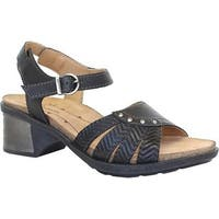 Dromedaris Women's Shelly Ankle Strap Sandal Black Leather