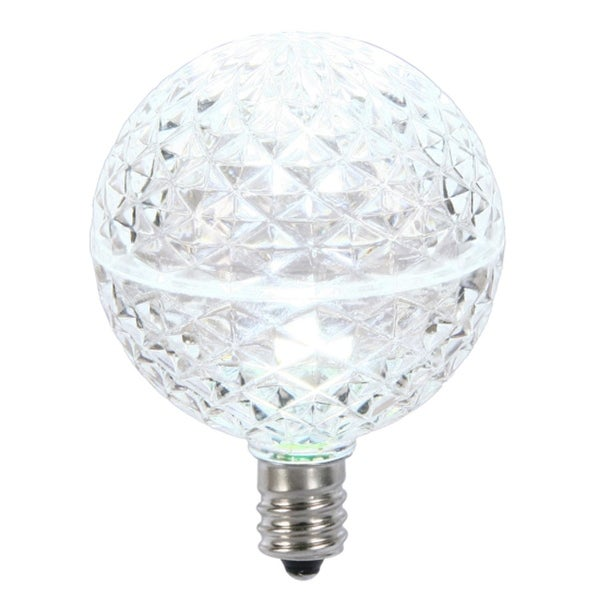 Club Pack of 25 LED G50 Cool White Replacement Christmas Light Bulbs - E12 Base - CLEAR