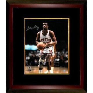 Signed Bernard King signed New York Knicks 16x20 Photo Custom Framed white jersey Bernard King was