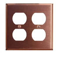 Switchplate Brushed Solid Copper Double Outlet