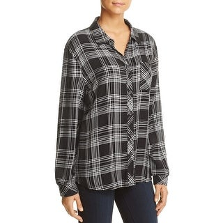 Beach Lunch Lounge Womens Leigh Button-Down Top Plaid Long Sleeves