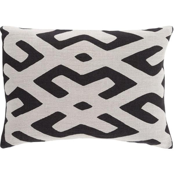 "13"" x 19"" Tribal Rhythm Ink Black and Mist Gray Decorative Throw Pillow-Down Filler"