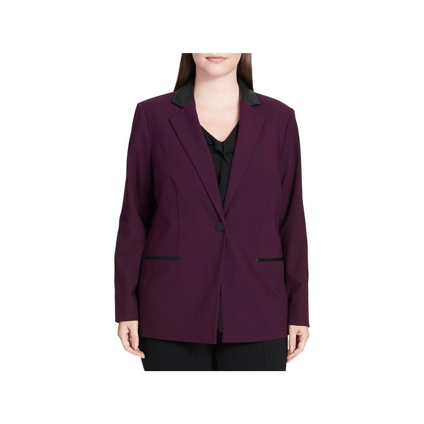 bc24a2a794b Shop Calvin Klein Womens Plus One-Button Blazer Faux Leather Trim  Professional - Free Shipping On Orders Over  45 - Overstock - 23615068