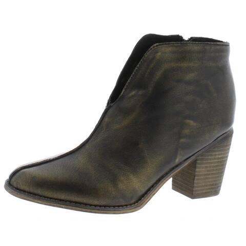 Diba True Womens Look Down Ankle Boots Metallic Leather - Black/Gold - 8 Medium (B,M)