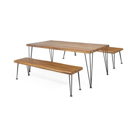 Zion Outdoor Modern Industrial 3 Piece Acacia Wood Picnic Dining Set with Metal Hairpin Legs by Christopher Knight Home