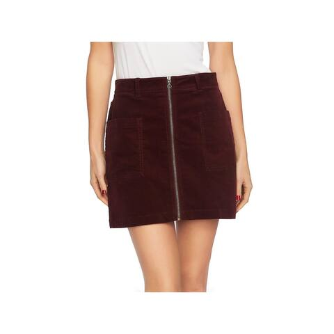 1.State Womens Mini Skirt Corduroy Zip Front