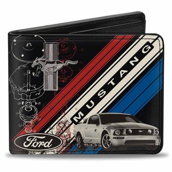 Mustang Tri Bar Logo Diagonal Stripe Blueprint Black Red White Blue Bi Fold Bi-Fold Wallet - One Size Fits most