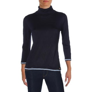 Tommy Hilfiger Womens Turtleneck Sweater Colorblocked Ribbed Trim