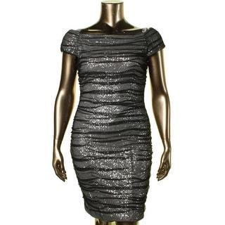 Lauren Ralph Lauren Womens Sequined Ruched Cocktail Dress
