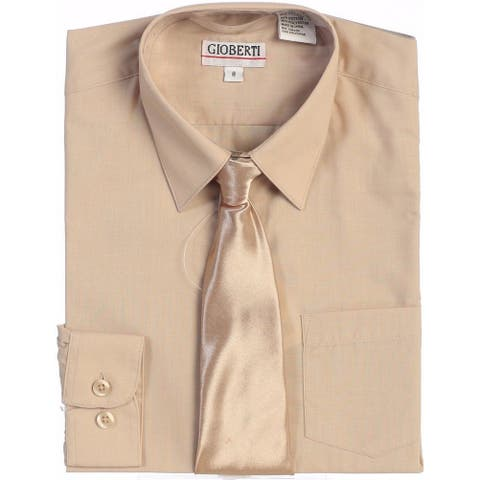 Gioberti Big Boys Khaki Solid Color Shirt Tie Formal 2 Piece Set