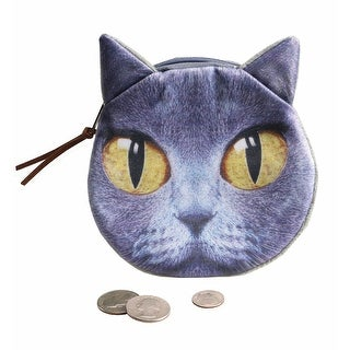 Women's Cat Face Round Coin Purse - Gray - One size
