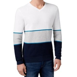 Michael Kors NEW Blue White Men Size Large L Colorblock V-Neck Sweater