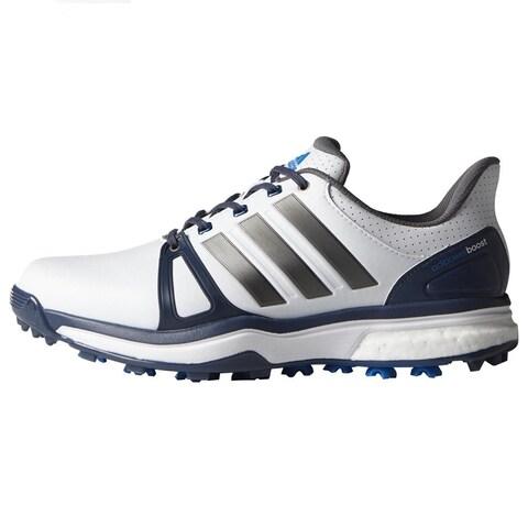 Adidas Men's Adipower Boost 2 White/Blue/Shock Blue Golf Shoes Q44661 / Q44665