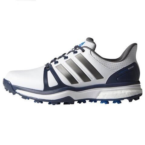 f4db61924e1390 Adidas Men s Adipower Boost 2 White Blue Shock Blue Golf Shoes Q44661    Q44665