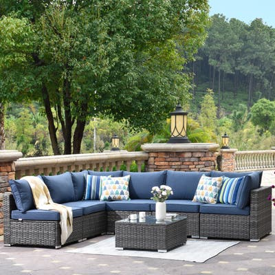Ovios Patio Furniture Deep Seat Wicker 7-piece Set with Cushions with Table