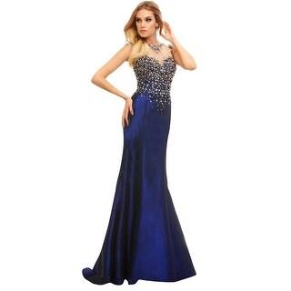 Mac Duggal Embellished Illusion Neckline Taffeta Mermaid Prom Evening Gown Dress - 2