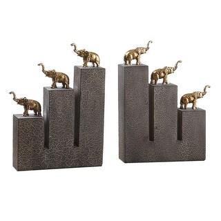 """Set of 2 Antiqued Gold Elephants on Black Crackled Base Bookends 10"""""""