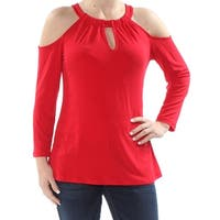 INC Womens Red Cold Shoulder Long Sleeve Jewel Neck Top  Size: S