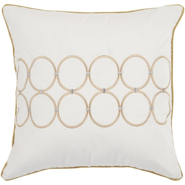 """18"""" White and Gold Color Bangle Chain Decorative Square Throw Pillow - Down Filler"""