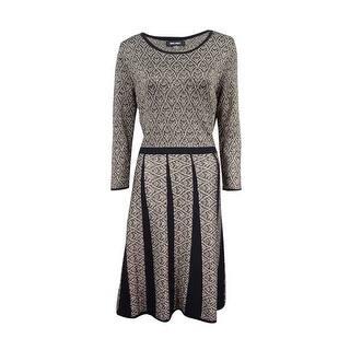 Nine West Women's Metallic Fit & Flare Sweater Dress - Gold Multi|https://ak1.ostkcdn.com/images/products/is/images/direct/e20de18b9b87863e1ee92a6fddc0ad8b08bc0859/Nine-West-Women%27s-Metallic-Fit-%26-Flare-Sweater-Dress.jpg?impolicy=medium