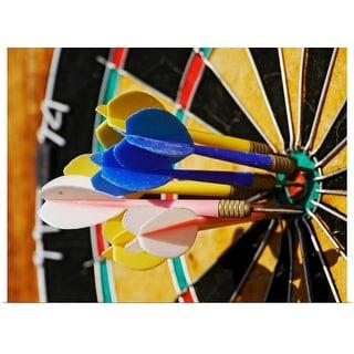 """Dartboard with darts in bulls eye."" Poster Print"