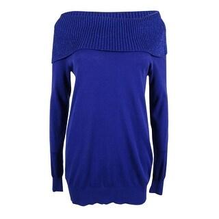 MICHAEL Michael Kors Women's Off-The-Shoulder Sweater (M, Dark Azurite) - dark azurite - m