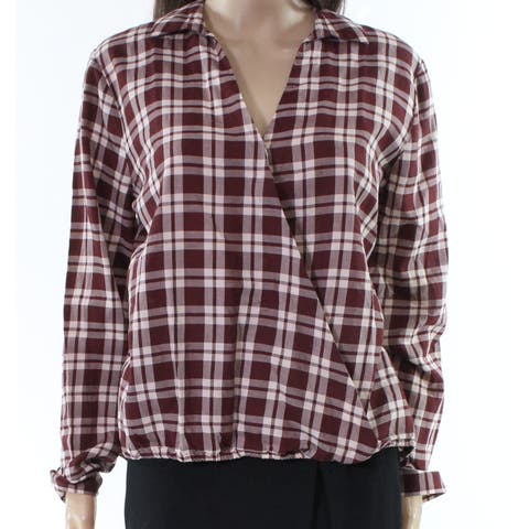 Madewell Red Womens Size Large L Plaid Print Split Neck Blouse