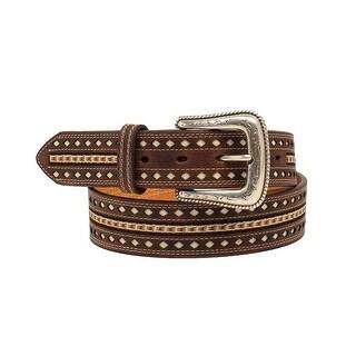 Nocona Western Belt Mens Ribbon Inlay Nailheads Brown