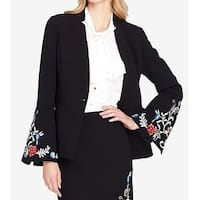 Tahari by ASL Black Women's Size 16 Embroidered Crepe Jacket