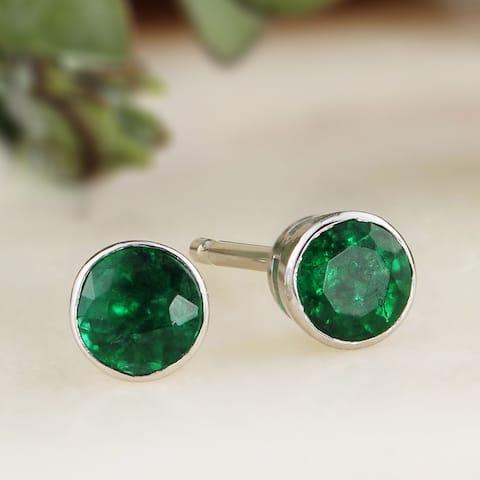 Auriya 14k Gold 1ctw Bezel-set Emerald Gemstone Stud Earrings